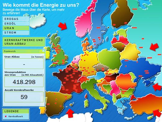 Interaktive Karte der Energieversorgung Europas