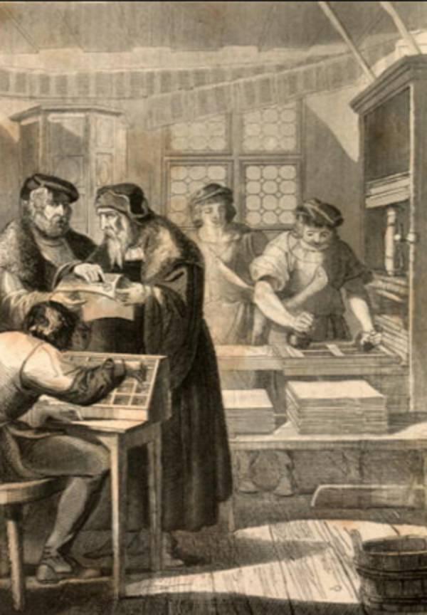 stahlstich zeigt johannes gutenberg in seiner druckerei - Johannes Gutenberg Lebenslauf