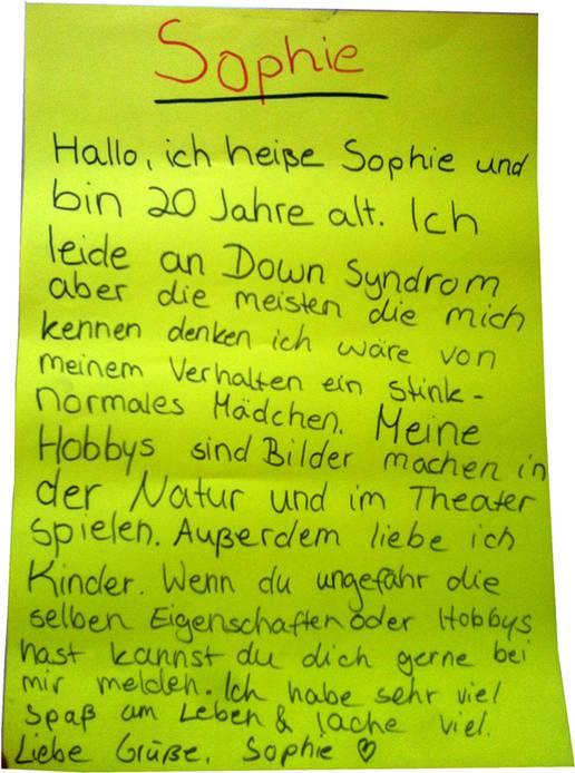 Sophie unterwegs – Leben mit dem Down-Syndrom | Unterricht | Inhalt ...